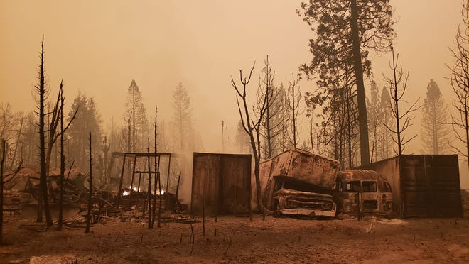 Burned out vehicles and frames are all that was left in Berry Creek, California after the Bear Fire struck the area on Wednesday, Sept. 9, 2020. The town is about 25 miles northeast of Oroville. The fire is part of the lightning-sparked North Complex. It began to rapidly spread fueled by strong winds.