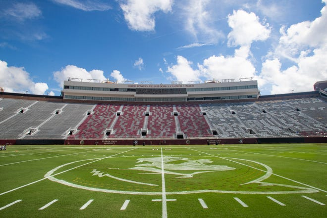Chair-backs are staggered throughout the bowl of Doak Campbell Stadium to provide social distancing between groups of fans.