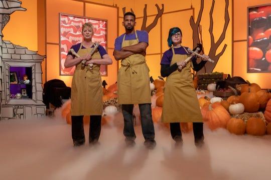 Stephan Baity, middle, of Taylors is part of Team Ghoul-Y Goblins, as seen on Halloween Wars, Season 10.