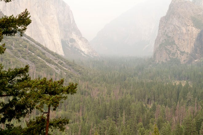 Smoke from the Creek Fire hangs in Yosemite National Park on Wednesday, September 9, 2020.