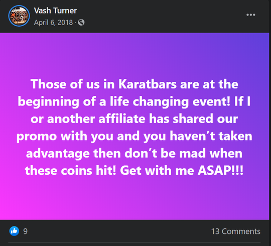 City Councilman Vash Turner promoting the cryptocurrency company Karatbars on Facebook