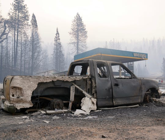 Heat from the Creek Fire destroyed this truck in Shaver Lake, California, on Sept. 9, 2020.