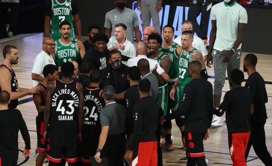 The Celtics and Raptors had words after a heated Game 6 on Wednesday.