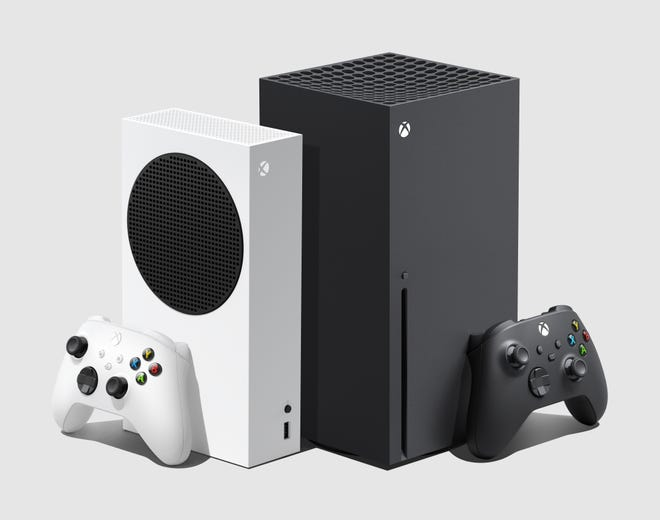 Microsoft's Xbox Series X game system, at right, priced at $499, and Xbox Series S  (at left, $299, no Blu-ray Disc drive on-board) arrive in stores Nov. 10.