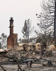 The remains of a house destroyed by the Creek Fire near Shaver Lake, California, on Sept. 9, 2020.