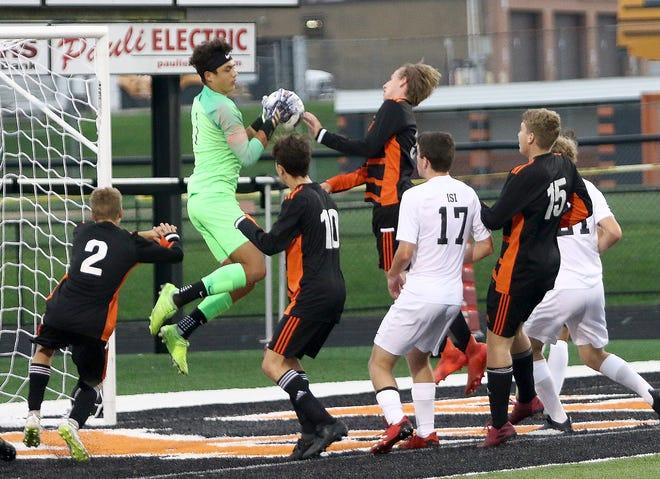 CVCA goal keeper Karsten Houk snags the ball on a Marlington corner kick during soccer action at Marlington High School on Thursday, September 10, 2020.