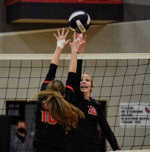 Megan Greenfield had six kills and 13 digs during Roland-Story's 25-12, 25-23, 25-12 sweep of Greene County Thursday in Story City. She is having a banner senior season for the No. 11 team in Class 3A.