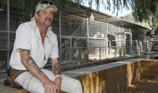 """In a letter to President Trump, Joseph Maldanado-Passage, also known as Joe Exotic, begs for Trump to listen to the millions """"who see the truth"""" and grant him a miracle — a pardon. Maldanado-Passage, pictured here in 2013, is imprisoned at the Federal Medical Center in Fort Worth. Sue Ogrocki/AP file"""
