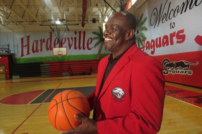 Former Ridgeland-Hardeeville High School boys basketball coach Jeremiah Faber stands inside the gymnasium that was named in his honor Thursday.