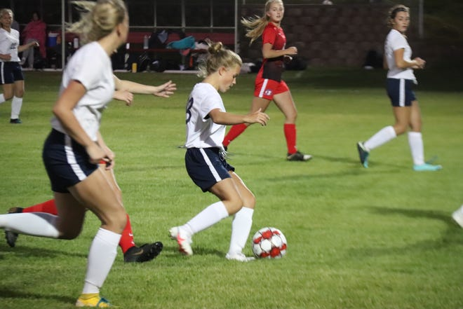 JoJo Wallace plays the ball during Crookston's 4-0 loss at Detroit Lakes on Thursday night.