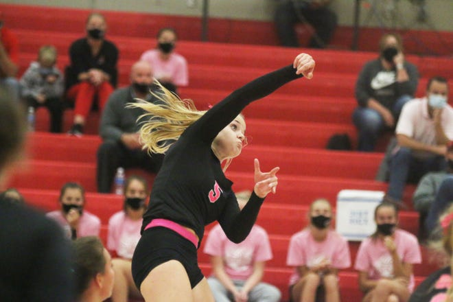 DCG's Grace Mikota with a kill on Thursday, Sept. 10 in Grimes.