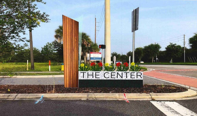 A rendering depicts how the monument sign for The Center, Deltona's events facility, could potentially look like in the center median of Dr. Martin Luther King Jr. Boulevard.