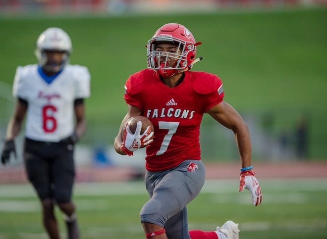 Van Horn freshman running back Lamonte Belshe broke free for 119 yards and two touchdowns on 15 carries in the Falcons' 55-13 win Thursday.