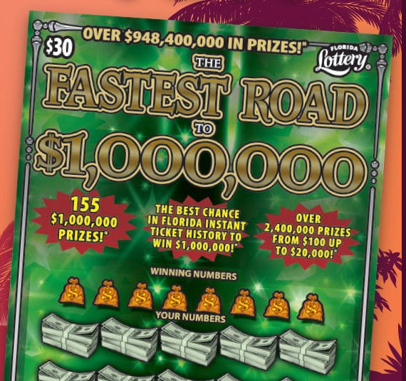 The Florida Lottery features the Fastest Road to $1,000,000 scratch-off game.