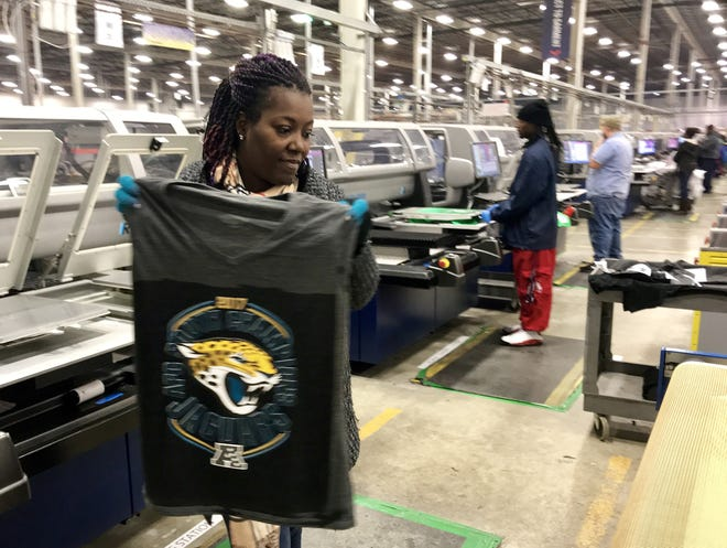Fanatics is hiring new employees at its Jacksonville facilities to make, pack and ship sportswear emblazoned with team logos.