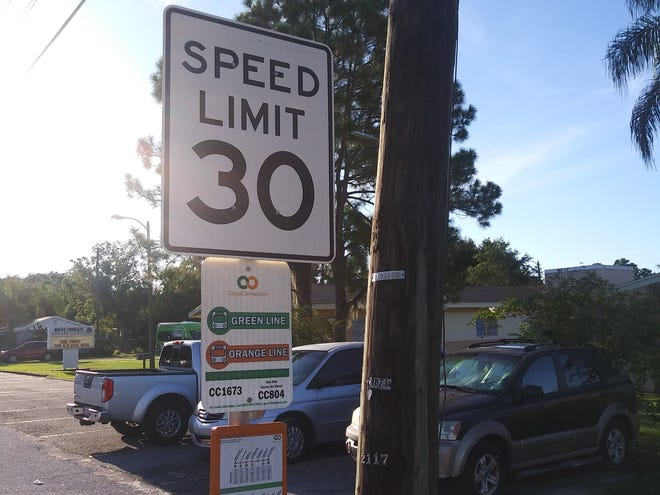 This 30 mph speed limit sign is posted on Crystal Lake Drive North for normal hours.