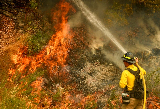 A firefighter puts out a hot spot along Highway 38 northwest of Forrest Falls, Calif., as the El Dorado Fire continues to burn Thursday afternoon. The fire started by a device at a gender reveal party on Saturday.