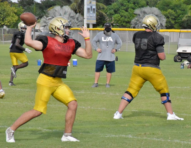 Senior quarterback Matthew Shannon fires a pass during Wednesday's practice drills. He joins the Crusaders as a transfer from Glades Day and looks to compete for the starting role on Friday.