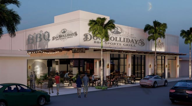 An artist's rendering of Doc Holliday's BBQ Sports Grille, scheduled to open next year in downtown Lake Worth Beach.