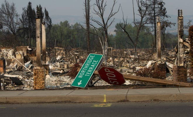 One of the many destroyed homes and businesses along Highway 99 in Oregon from Phoenix to Ashland made during a rolling tour of the aftermath of the Almeda Fire with the Jackson County Sheriff Sept. 10.