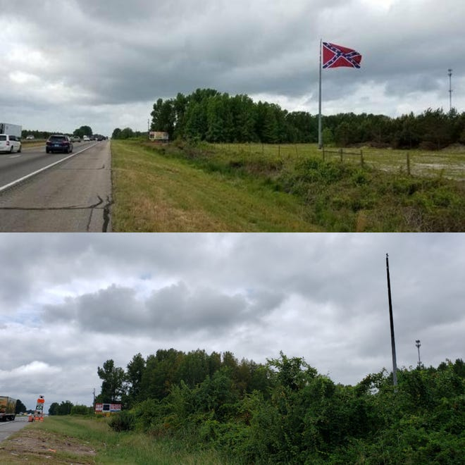 A Confederate battle flag that was raised in 2017 off southbound Interstate 95 north of Fayetteville was not on its pole on Thursday. It is not publicly known if it will be replaced.