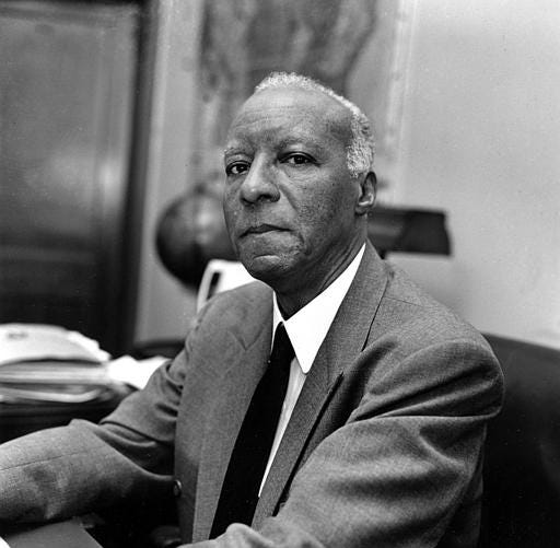 A. Philip Randolph, International President of the Brotherhood of Sleeping Car Porters and national president of the Negro American Labor Council, is shown in Washington, D.C., Aug. 1963. He was also director of the March on Washington for Jobs and Freedom on Aug. 28 of that year.