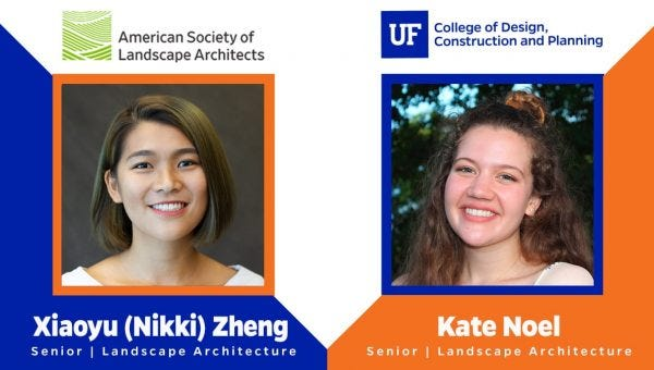 Xiaoyu (Nikki) Zheng, left, and Kate Noel were recently named the winners of the American Society of Landscape Architects Award of Excellence in the inaugural Urban Design category.