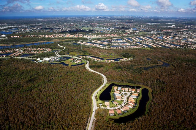 A housing development built in Everglades wetlands is seen from the air near Naples.