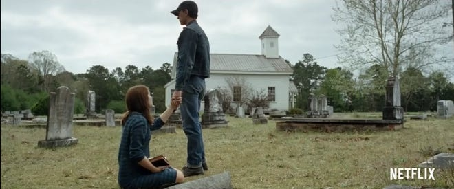 "Tom Holland in a scene from ""The Devil All the Time."" The church in the background is Pine Flats Presbyterian Church in Deatsville."