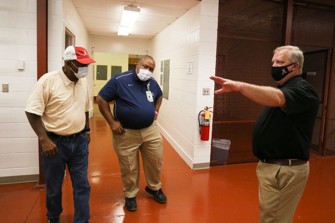 Donny Jones, from West Alabama Works, shows classroom space to Frank Kennedy and Marvin Lucas in the Skilled Trades of West Alabama Apprenticeship Program Friday Sept. 11, 20202. [Staff Photo/Gary Cosby Jr.]