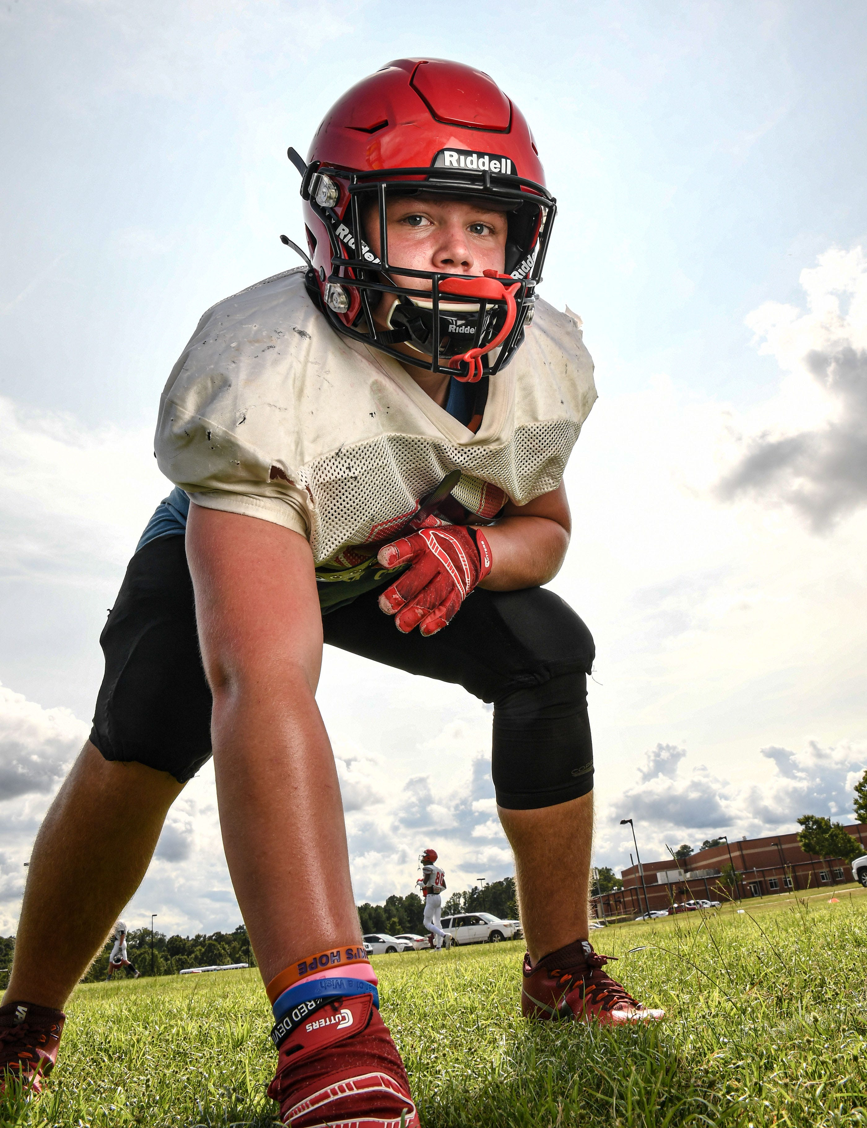 Liberty football linebacker Breylen Cobb plays on the offensive line and linebacker for the Red Devils in Liberty, S.C. September 2020.