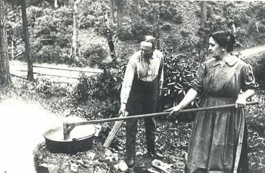 Wanda and Alice spent two days every fall making apple butter in a hog boiler over a slow fire, the haze of their unambitious fire rising like an apparition over the trees.