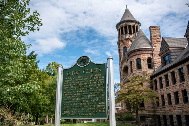 Burrage Library at Olivet College is pictured on Friday, Sept. 11, 2020 in Olivet, Mich.