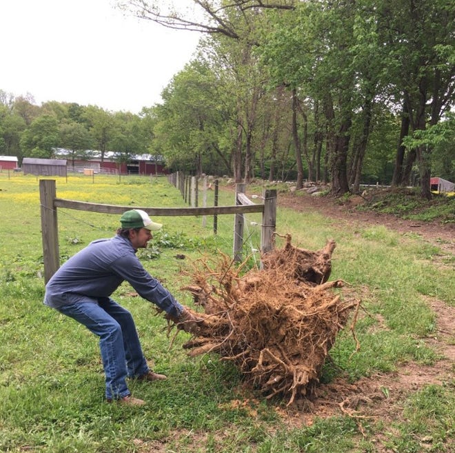 Corey Briggs helps with farm upkeep for Project Horses for Forces.
