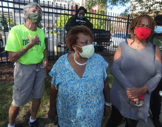 Theresa Terns,JoAnn Boyd and LaVerne Smith were among the protesters gathered in front of Fitness Works gym, which is closing because Henry Ford Health System is taking over the space on September 11, 2020.