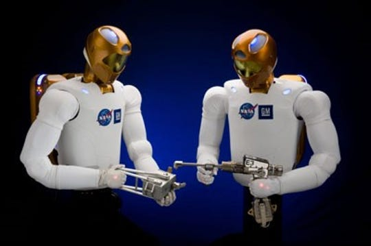 Robonaut 2, also known as R2, is on the International Space Station. Its technologies apply to space travel, manufacturing, and vehicle safety.