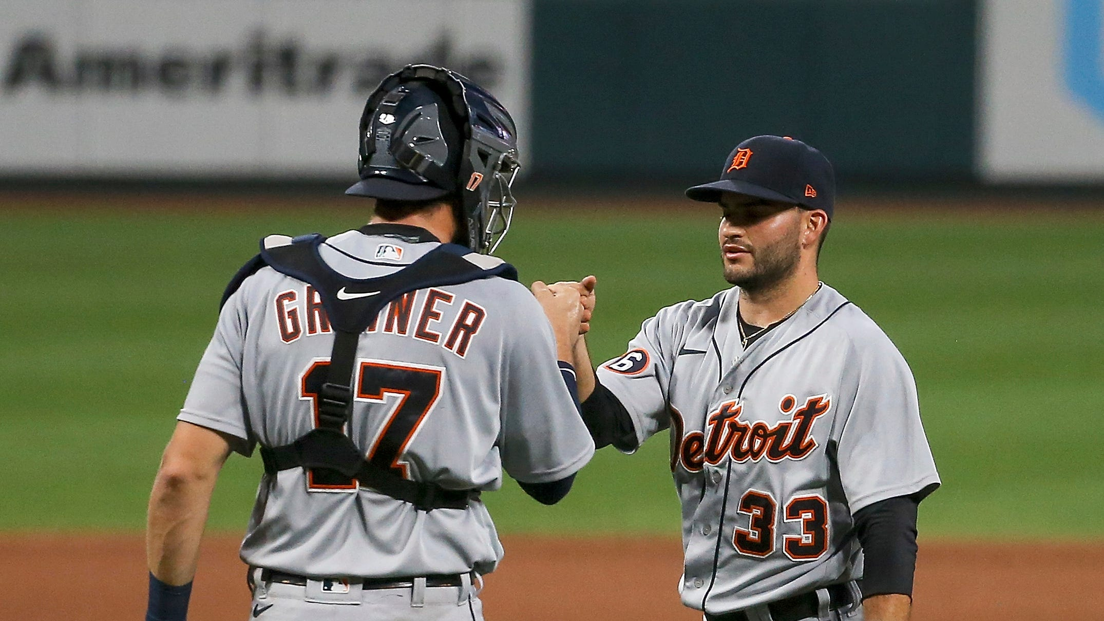 Tigers catcher Grayson Greiner and pitcher Bryan Garcia congratulate each other after the Tigers' 6-3 win in the second game of the doubleheader on Thursday, Sept. 10, 2020, in St. Louis.