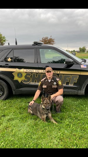 Fond du Lac County Sheriff's Office Deputy Andrew Kohlmann is the handler for the department's new police dog, Ace.
