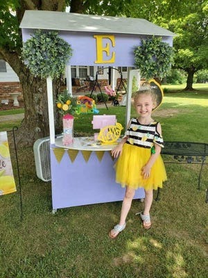 Emma Kail, 5, at her first business, Sassy E's in Greenfield, Tennessee.