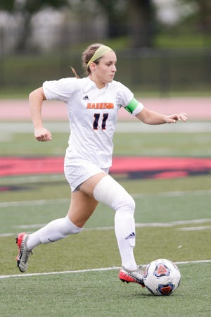 Harrison's Lexi Fraley (11) dribbles during the first half of an IHSAA girls soccer match, Thursday, Sept. 10, 2020 in Lafayette.
