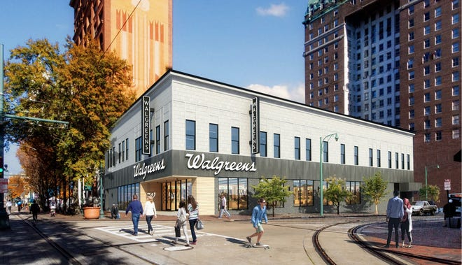 Renderings show what the Walgreens location at the corner of Main Street and Madison Avenue could look like after significant planned interior and exterior renovations.