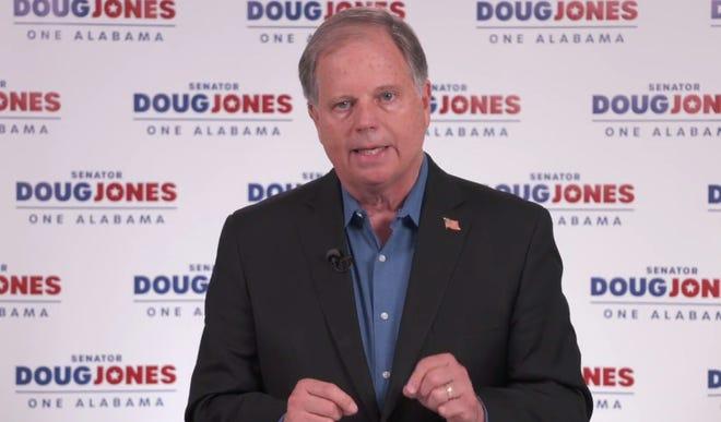 U.S. Sen. Doug Jones, D-Ala., speaks during a Facebook campaign event on Sept. 11, 2020.