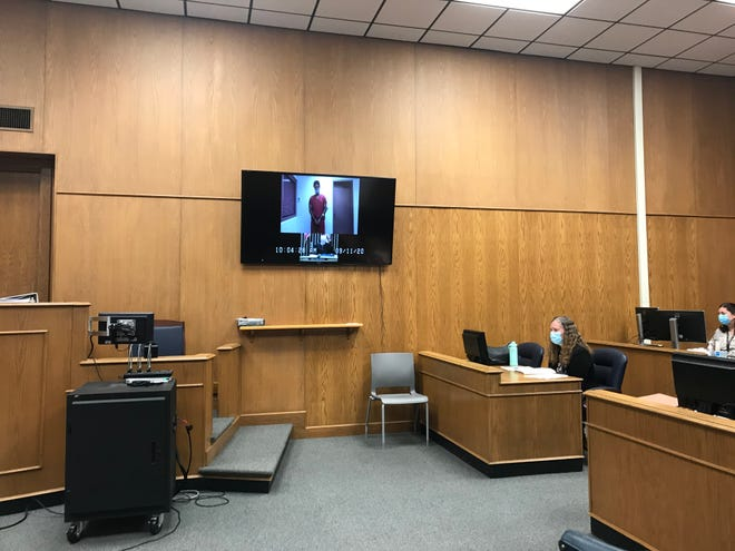 Ray Ingram appears via video conference for a sentencing hearing in Licking County Common Pleas Court on Friday, Sept. 11, 2020. Ingram was found guilty of two counts of felonious assault, both second-degree felonies, and one count of tampering with evidence, a third-degree felony.
