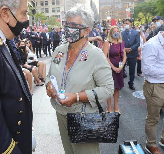 Joanne Barbara of Scotch Plains lost her husband Terry, a FDNY Chief on 911.The ceremony and reading the names of victims of the attacks of 911 were moved to Zuccotti Park, a block up from the World Trade Center Memorial in lower Manhattan, NY on September 11, 2020. It was sponsored by the Tunnels to Towers Foundation. This was the first time since the terror attacks of Sept. 11, 2001, there was no ceremony and reading of the names at Ground Zero because of fears of spreading the COVID-19 virus.