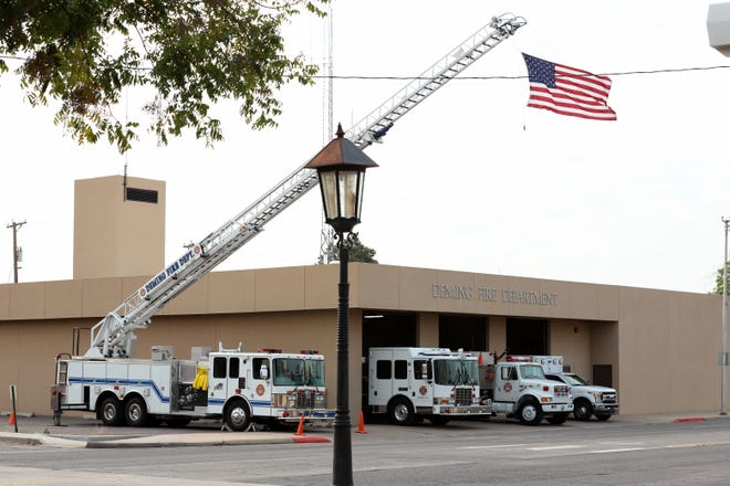 "Deming Fire Department firefighters turned on sirens from the department's fleet of emergency vehicles on Friday morning to signal the exact times of the Sept. 11, 2001 attack on the World Trade Center ""Twin Towers"" in New York City."
