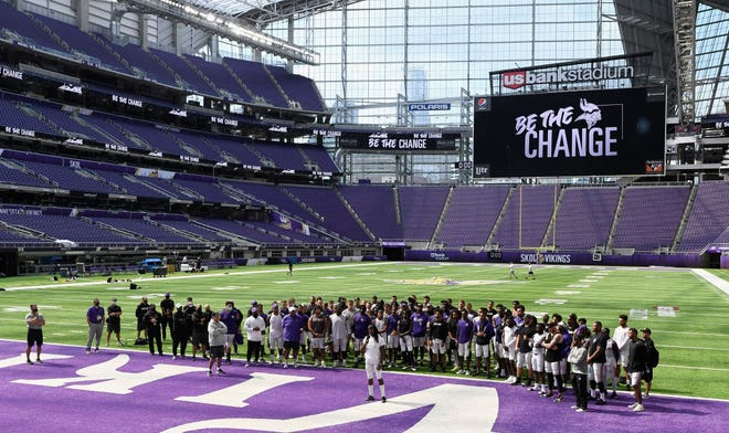 Anthony Harris of the Minnesota Vikings addresses the media regarding police violence and race inequalities during training camp on August 28, 2020 at U.S. Bank Stadium in Minneapolis, Minnesota.