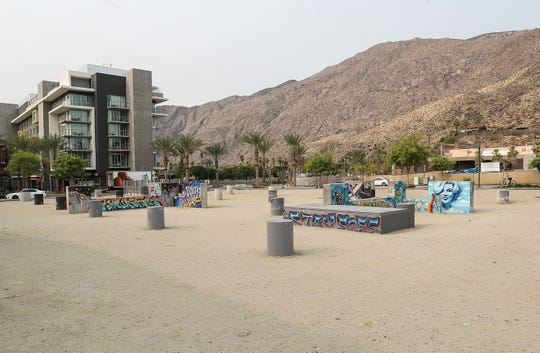This empty lot was to be the location for a new Virgin Hotel in downtown Palm Springs, September 11, 2020.  At left is the Kimpton Rowan Palm Springs.