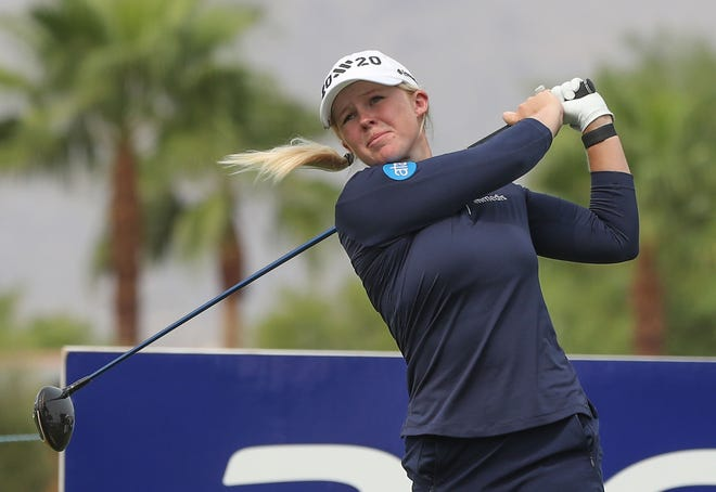 Stephanie Meadow tees off on the 9th hole during the second round of the ANA Inspiration at Mission Hills Country Club in Rancho Mirage, September 11, 2020.