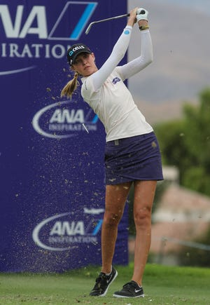Nelly Korda tees off on the 17th hole at the ANA Inspiration at Mission Hills Country Club in Rancho Mirage, September 10, 2020.