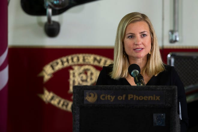 Phoenix Mayor Kate Gallego speaks at the 19th annual 9/11 ceremony held at the Phoenix Fire Training Academy on Sep. 11, 2020.